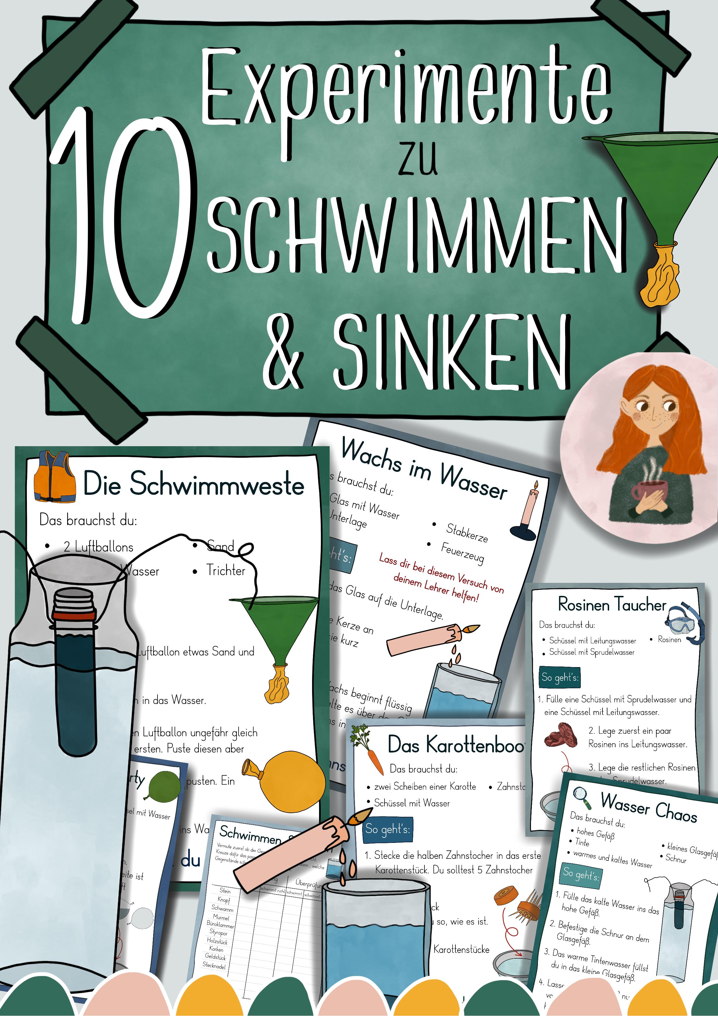 10 Experimente zu Schwimmen und Sinken - Anleitungen  Stationenkarten