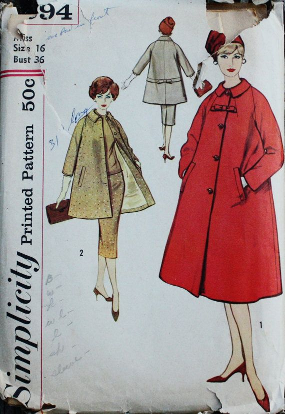 Simplicity 2694 1950s 50s Swing Coat & Skirt by EleanorMeriwether ...