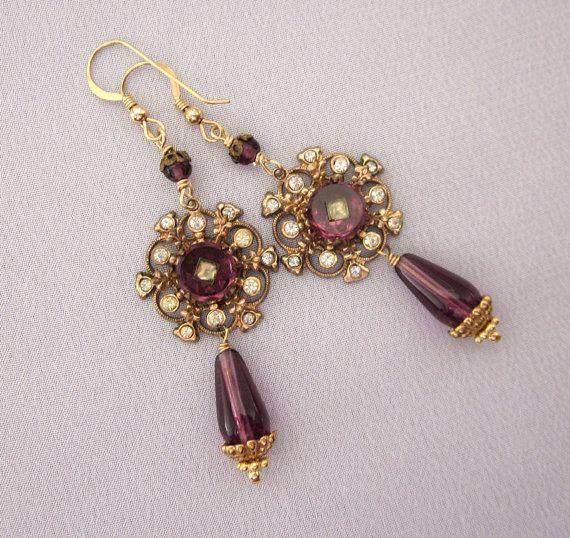Repurposed Purple Bead Earrings Vintage Rhinestone by jryendesigns, $46.00
