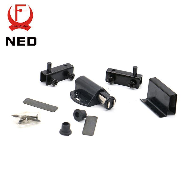 Buy Ned8007 Single Black Cabinet Door Stopper Glass Magnetic Push To