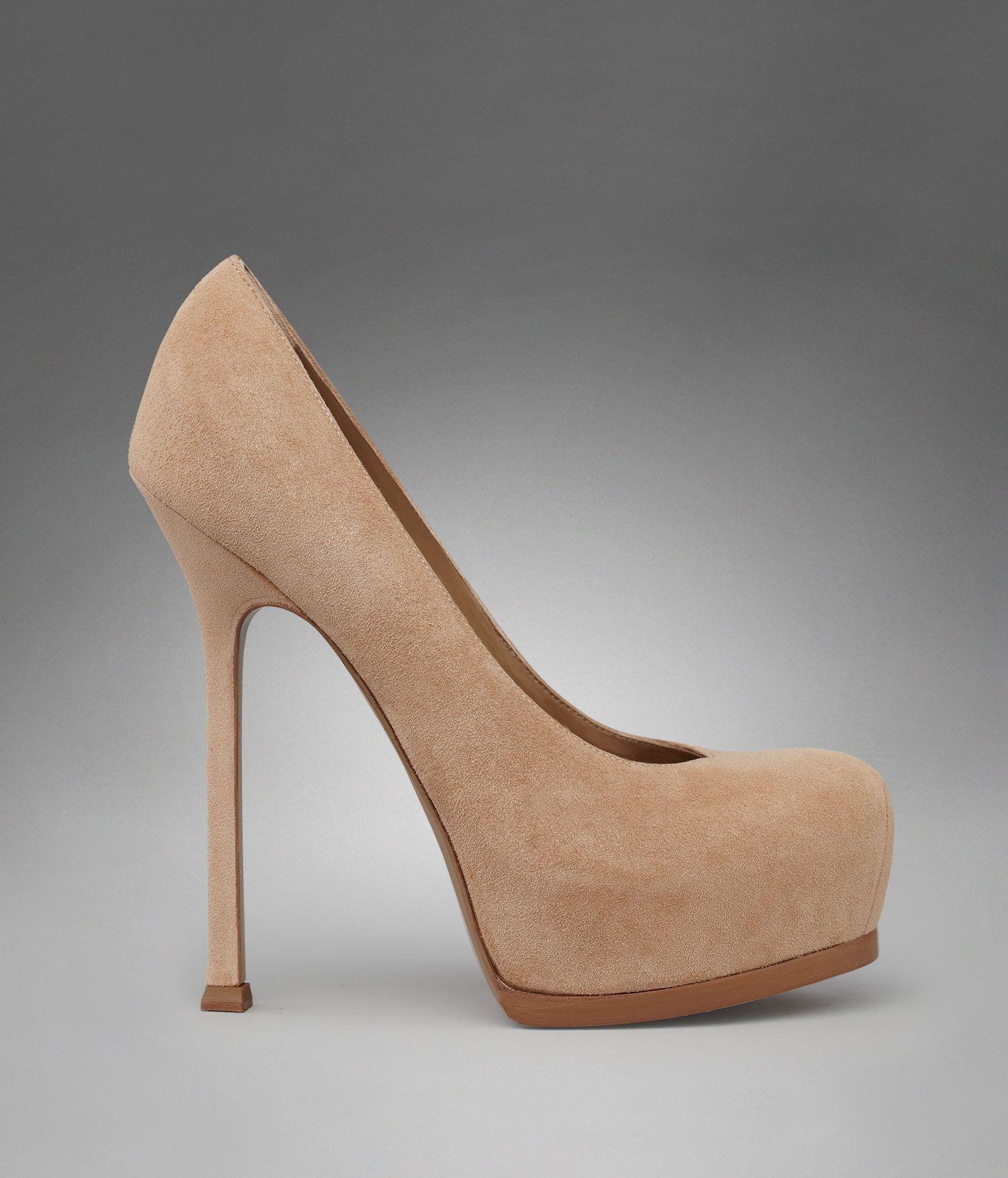 00c9ab404b6 YSL TRIB TOO HIGH HEEL PUMP IN BEIGE SUEDE | Shoesss!!! | Shoes, Ysl ...