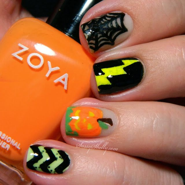 Glow-in-the-dark Halloween skittle nails | Sassy Shelly