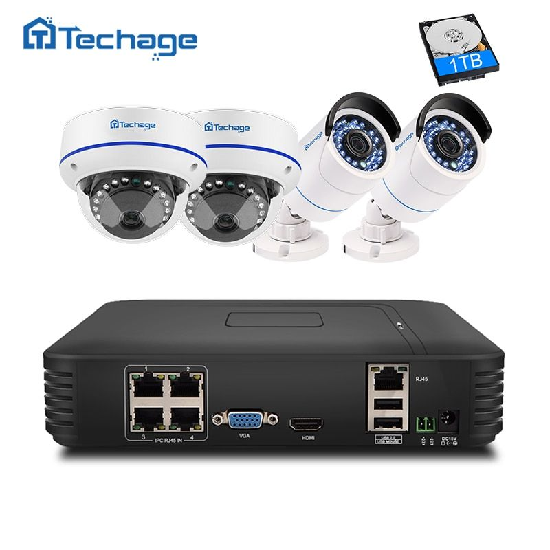 Techage 4CH 1080P HD NVR Kit POE CCTV System 2MP Dome Indoor