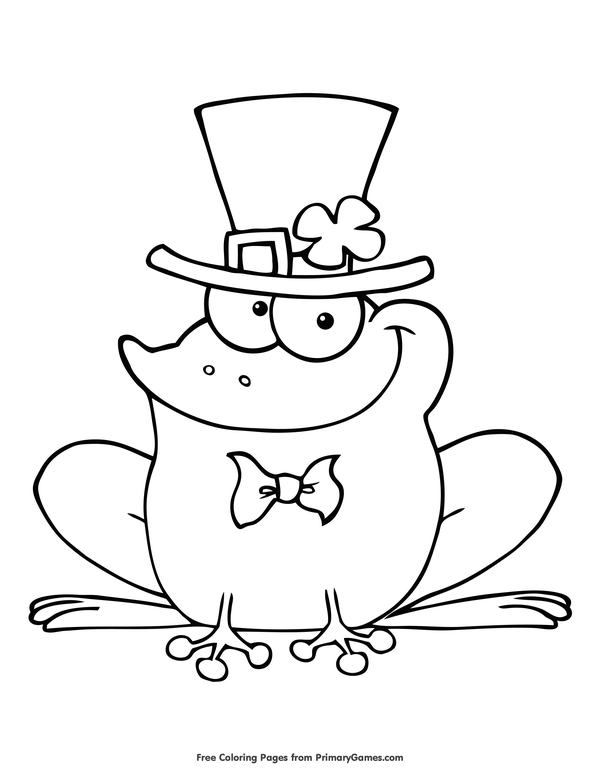 St. Patrick's Day Coloring Pages eBook: Leprechaun Frog