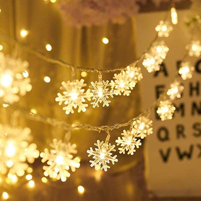 AODINI Snowflake String Lights 16 ft 40 LED Fairy Lights Battery