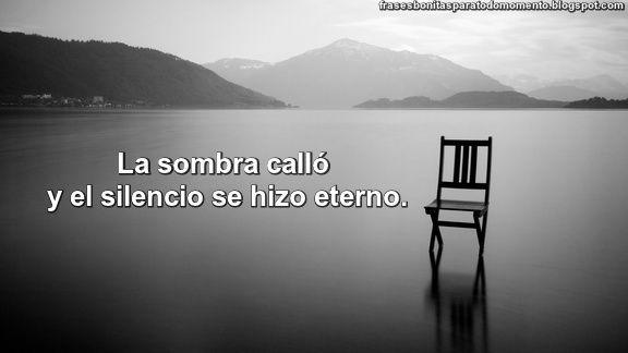 Frases Bonitas Para Todo Momento. : La sombra calló y el silencio se hizo eterno.