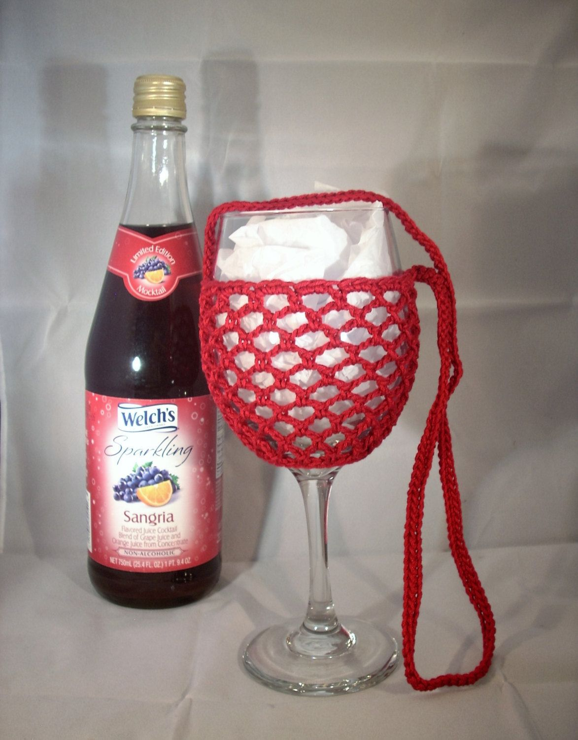 Wine Glass Holder Necklace Sling Lanyard Cozy Cooler Crochet Ruby Red Ready To Ship Wine Glass Holder Wine Glass Wine