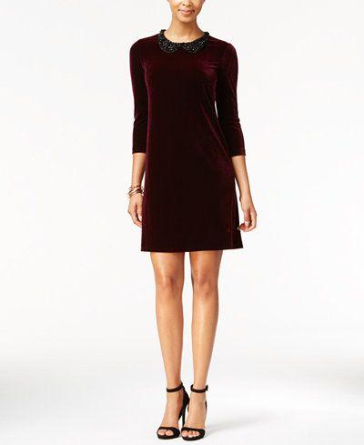 f3e7587f Betsey Johnson Embellished-Collar Velvet Shift Dress | My Style in ...
