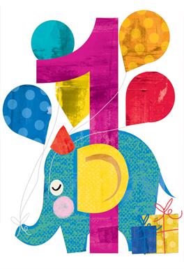 1st Birthday Cards Free Printable : birthday, cards, printable, First, Birthday, Elephant, (Free), Greetings, Island, Birthday,, Cards,, Happy