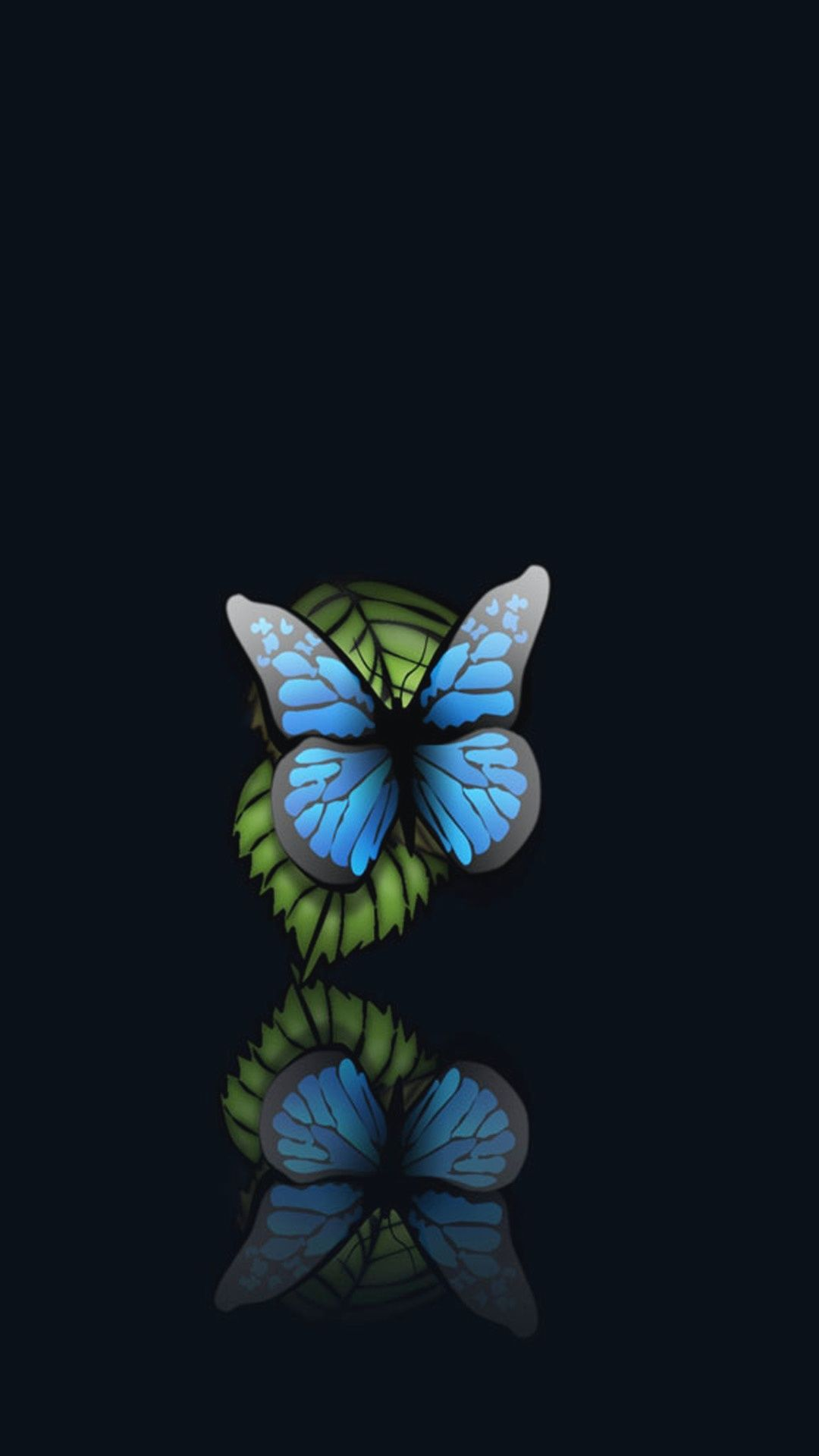 Blue Butterfly Black Background iPhone 6 Plus HD Wallpaper
