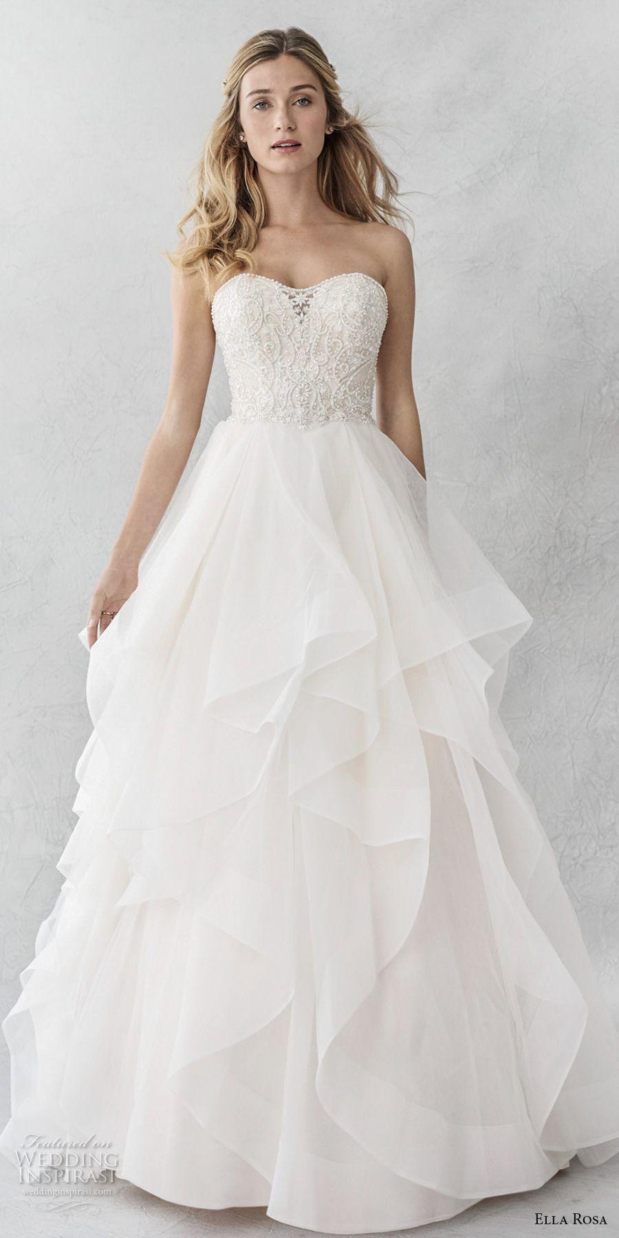 861f8a40dc45 ella rosa spring 2017 bridal strapless semi sweetheart neckline heavily  embellished bodice layer skirt romantic a line wedding dress chapel train  (364) mv