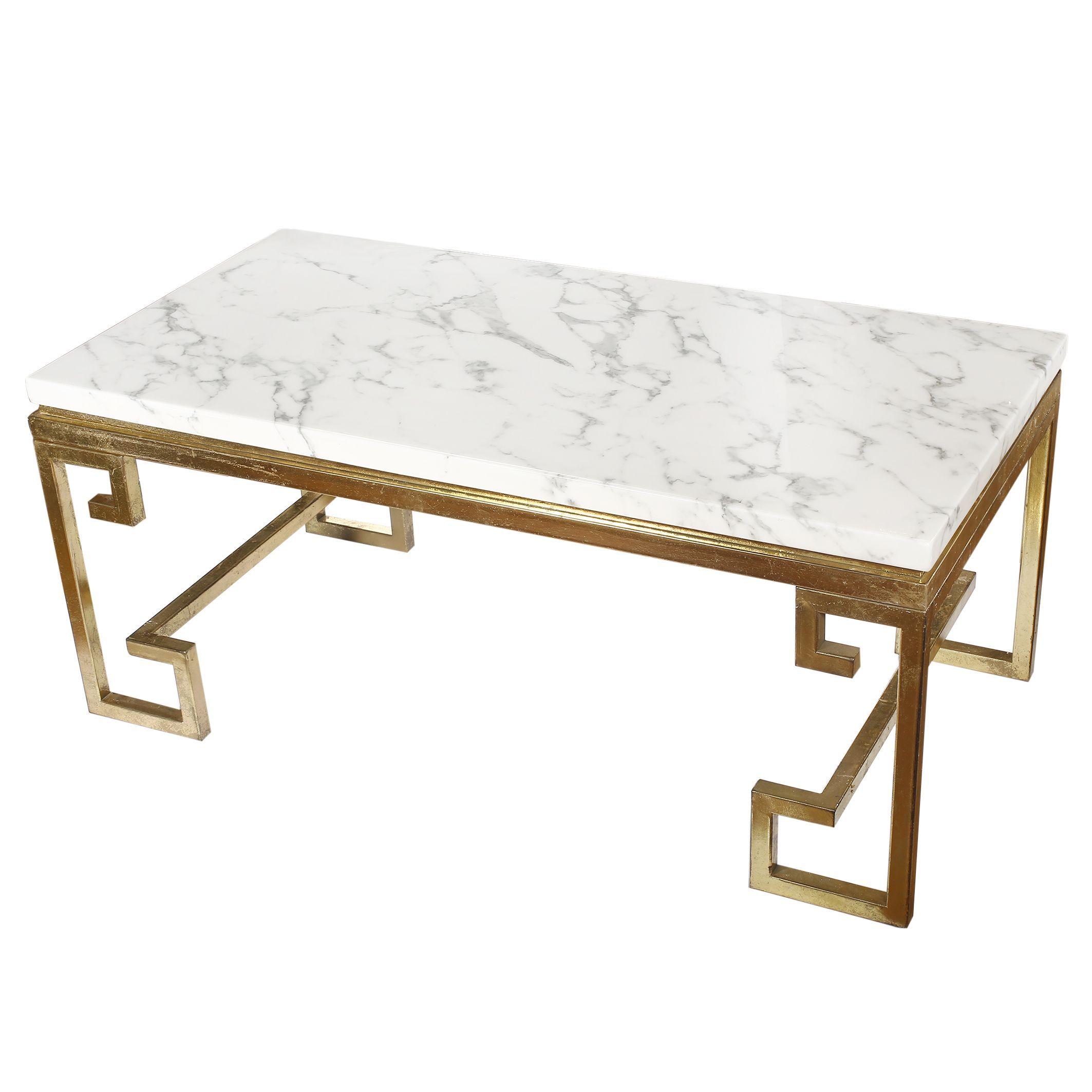 Phoenecian Nights Goldtone Iron Coffee Table With White Marble Top