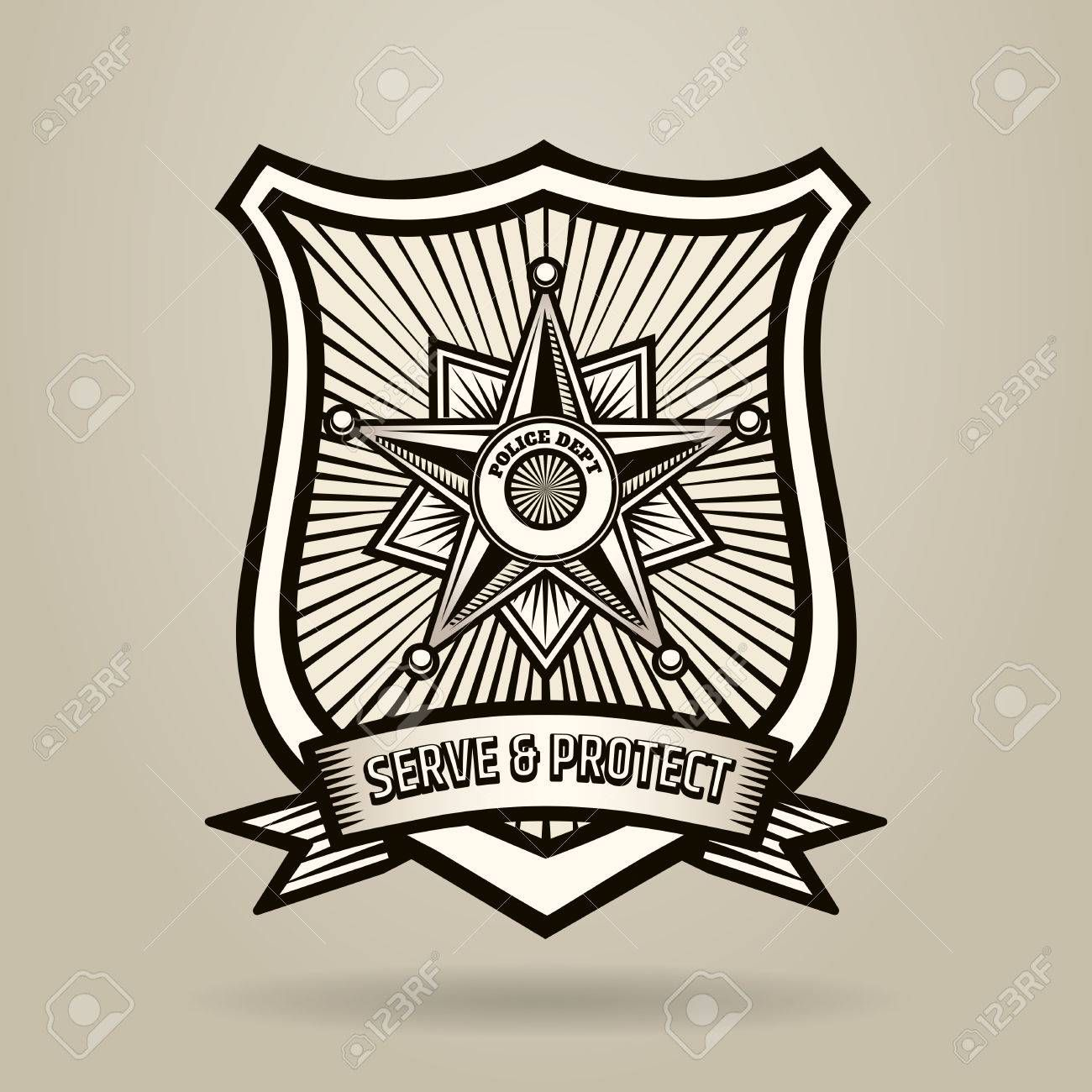 Police Badge with wording Serve and Protect. Illustration