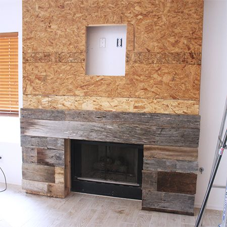 Reclaimed Wood Fireplace Surround Adding Planks Fireplace