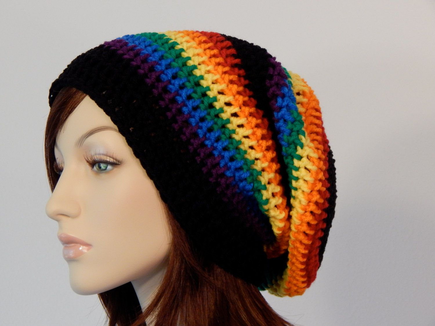 Crochet PATTERN PDF, The Rainbow Slouch Beanie, Winter Slouchy Hat ...