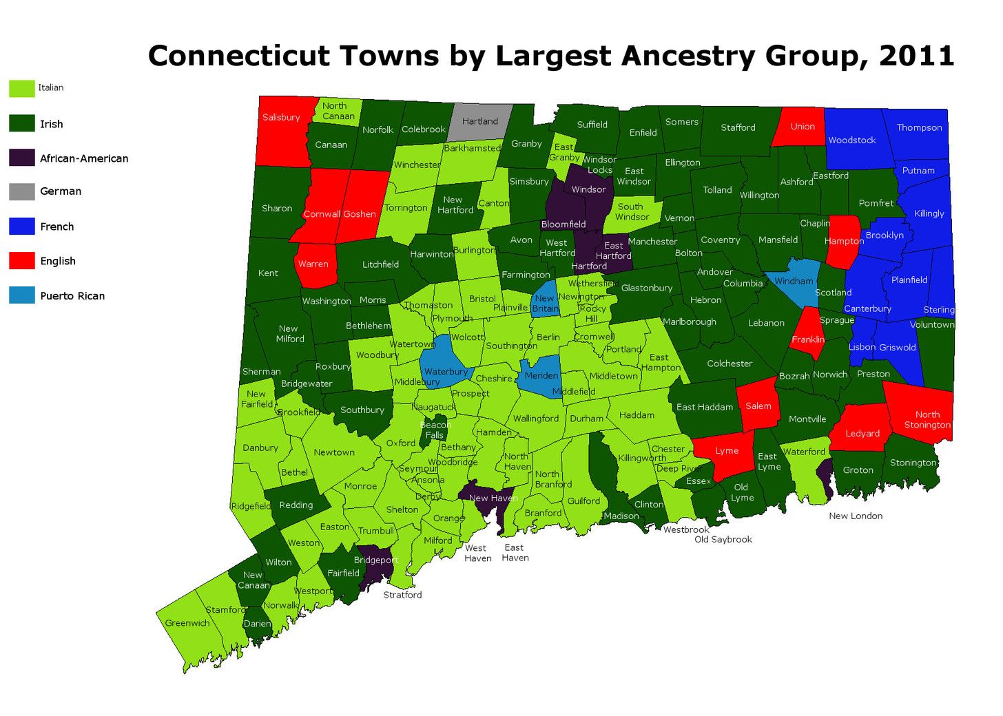 OC Modern Map Of CT Towns By Largest Ancestry Group Xpost From - Map of ct towns