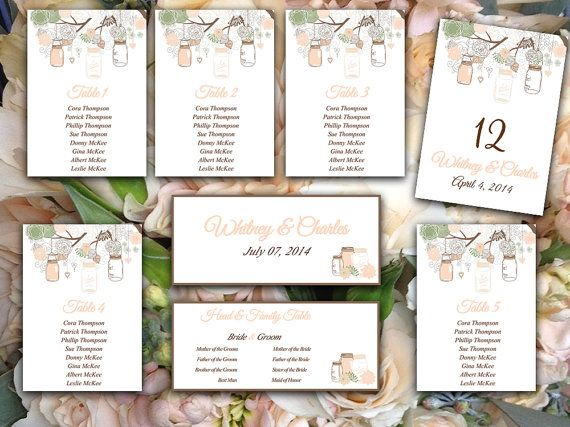 Wedding Seating Chart Template  Rustic Mason Jar Sage Green