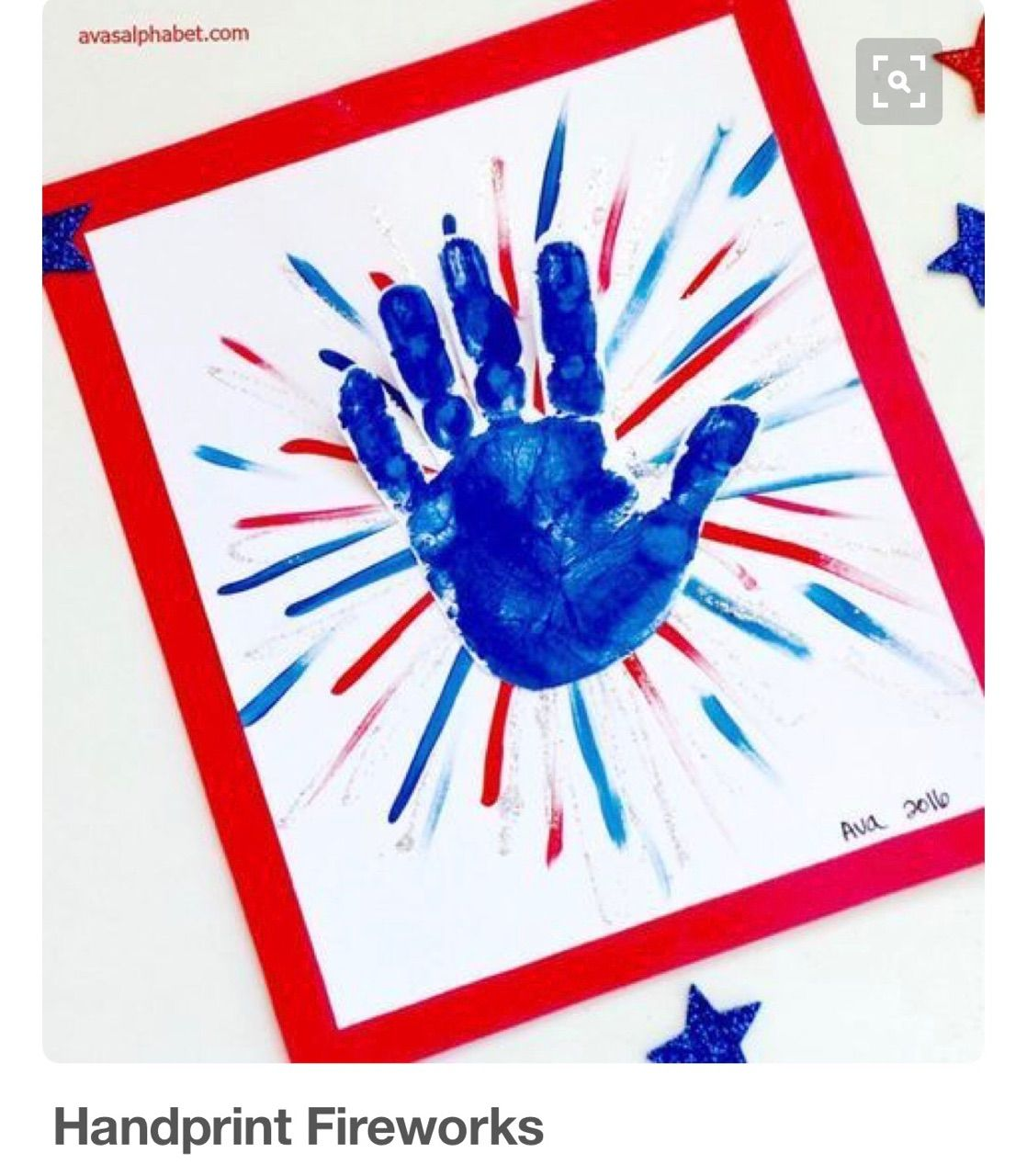 4th Of July Independence Day Fireworks Handprint