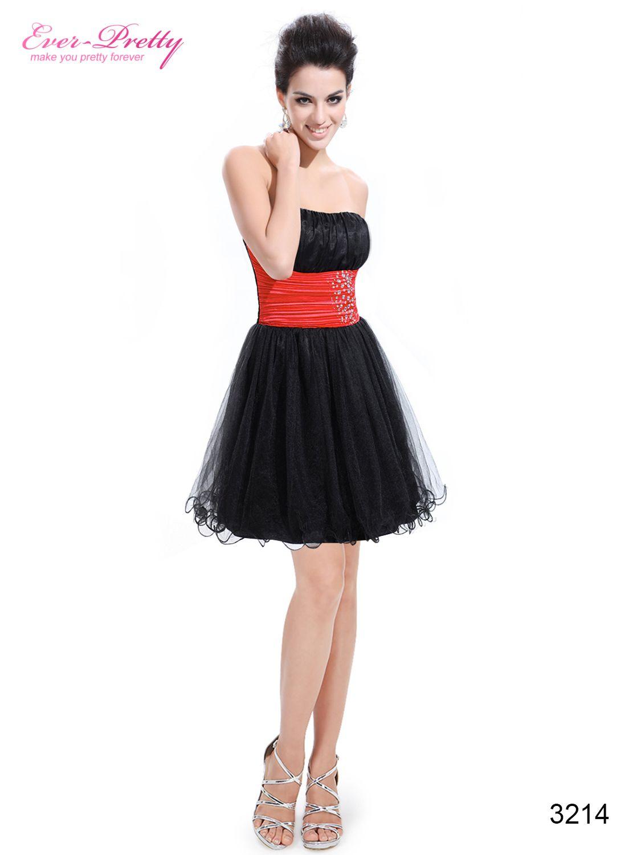 Cute strapless red rhinestones organza cocktail dress everpretty