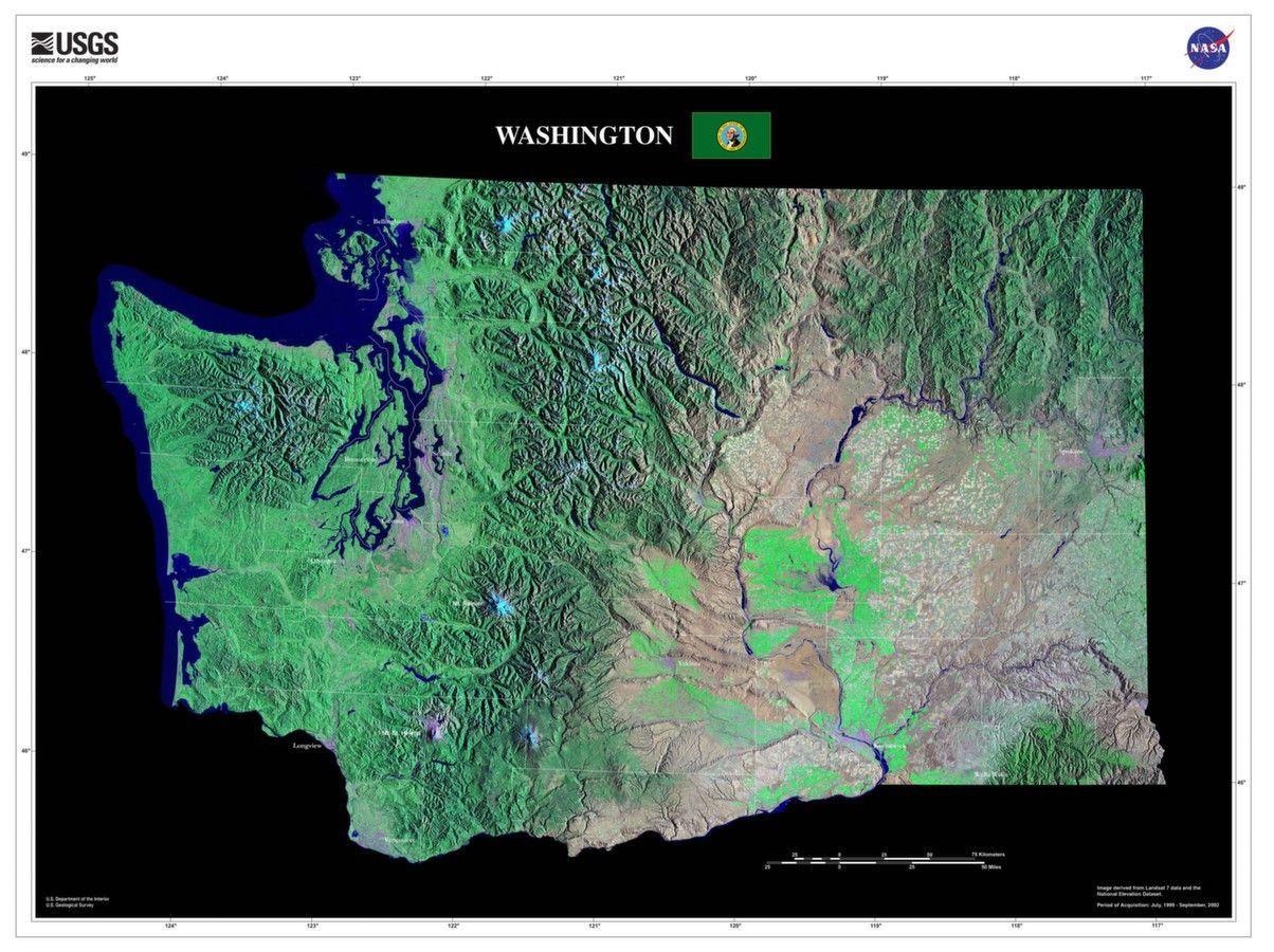 Washington Satellite Imagery State Map Poster Pacific northwest