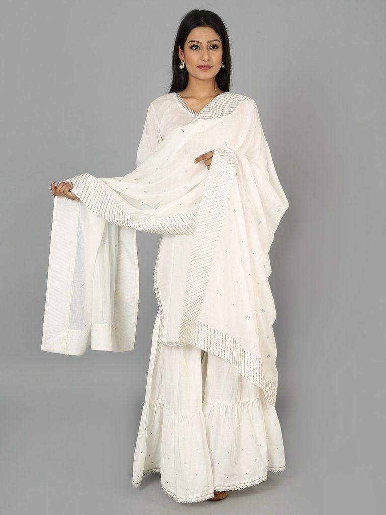 20167c1ea6 White Cotton Gota Sharara Set - Set of 3 | prettyface <3 | Fashion ...