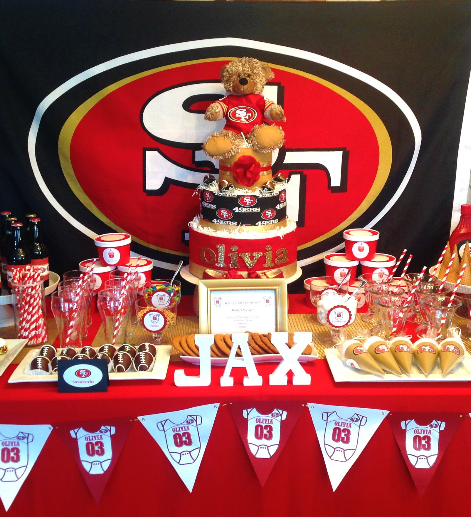Baby shower baby shower party ideas baby shower table for 49ers bathroom decor