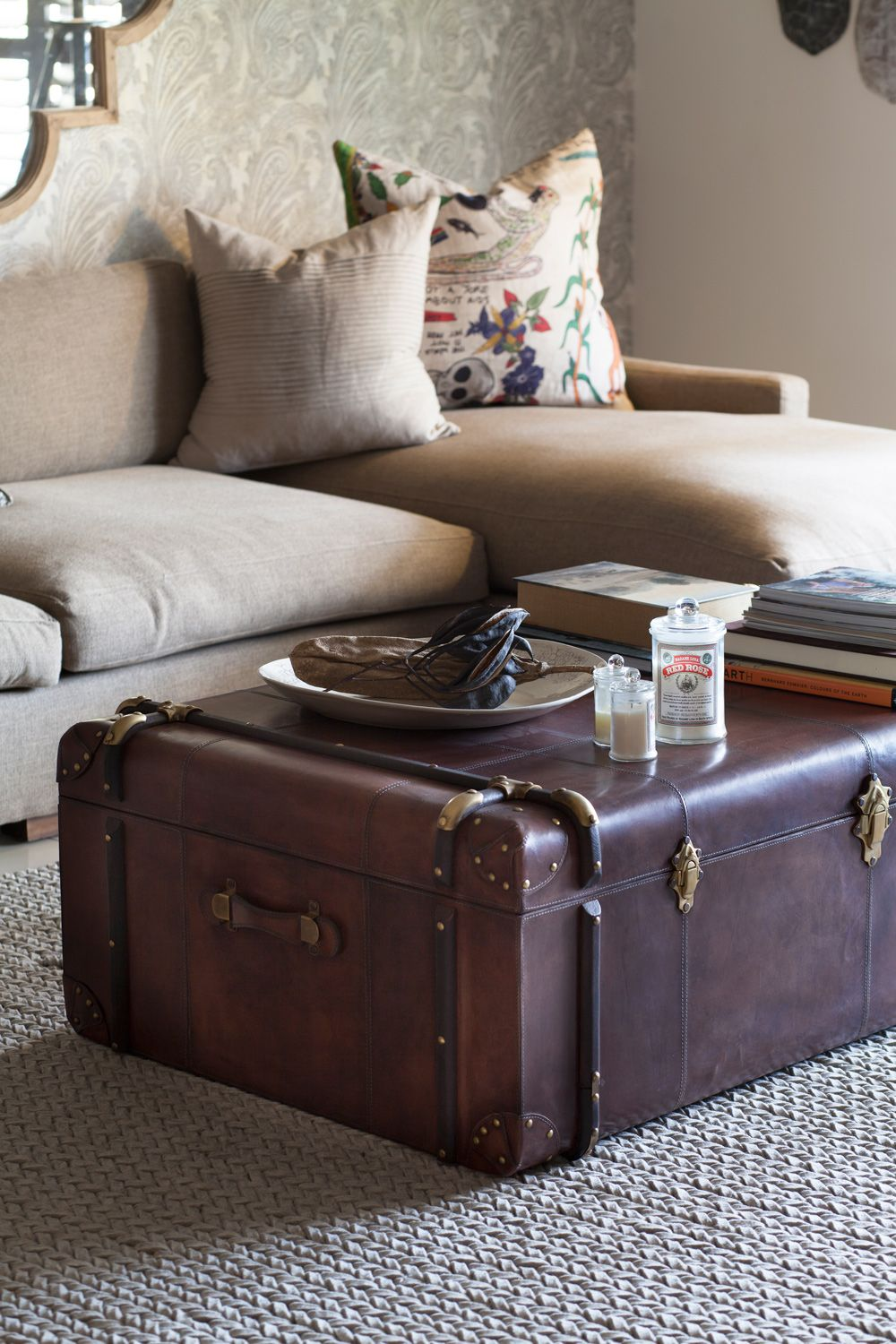 Coffee table alternatives Leather living room furniture