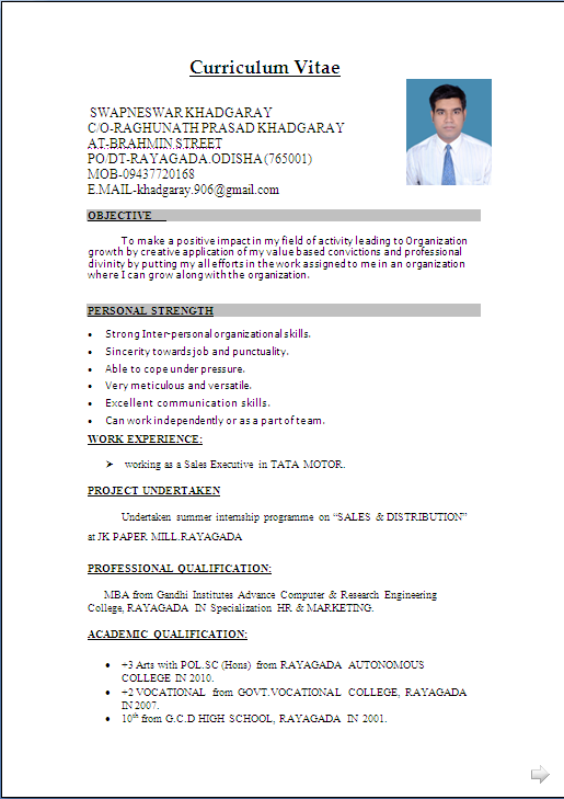 Typical Resume Format Resume Sample In Word Document Mbamarketing & Sales Fresher