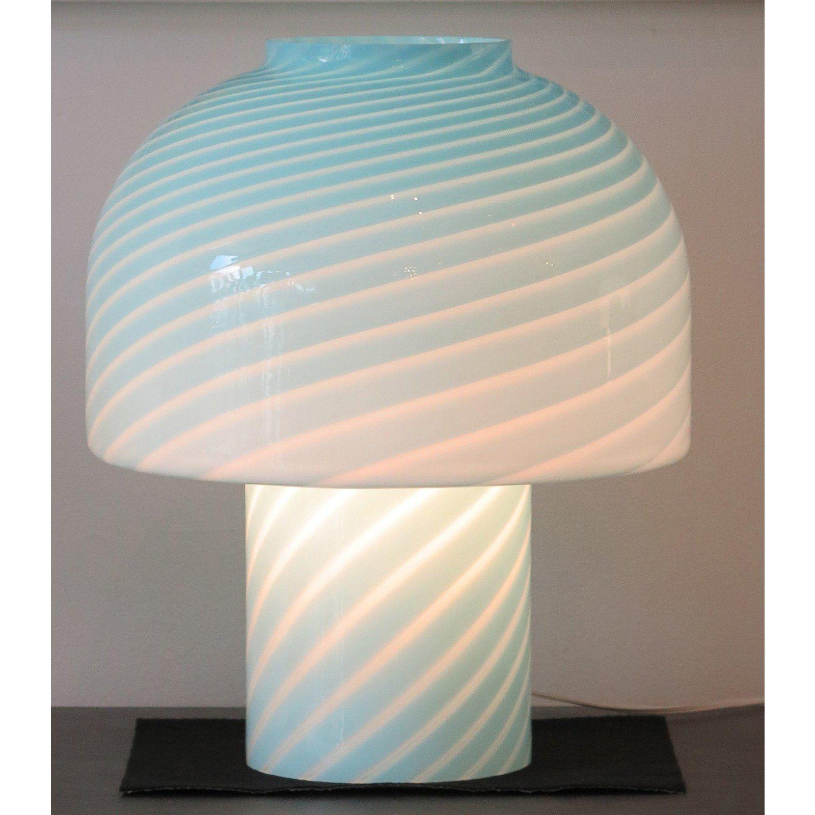 1980s Vintage Vetri Murano Glass Blue Swirl Table Lamps A Pair Table Lamp Lamp Murano Lamp