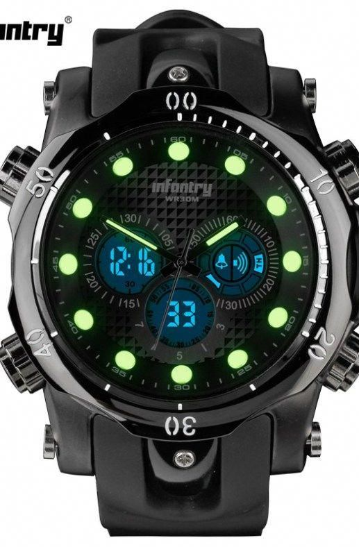Mens Watches Top Brand Luxury INFANTRY Chronograph Sports Watch Analog-Digital Military Rubber #sportswatches