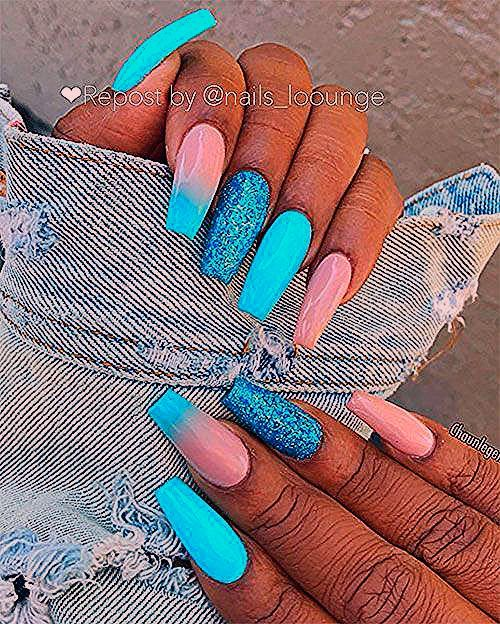 Photo of Lovely light blue coffin nails w Sephora $10 OFF OFF $200