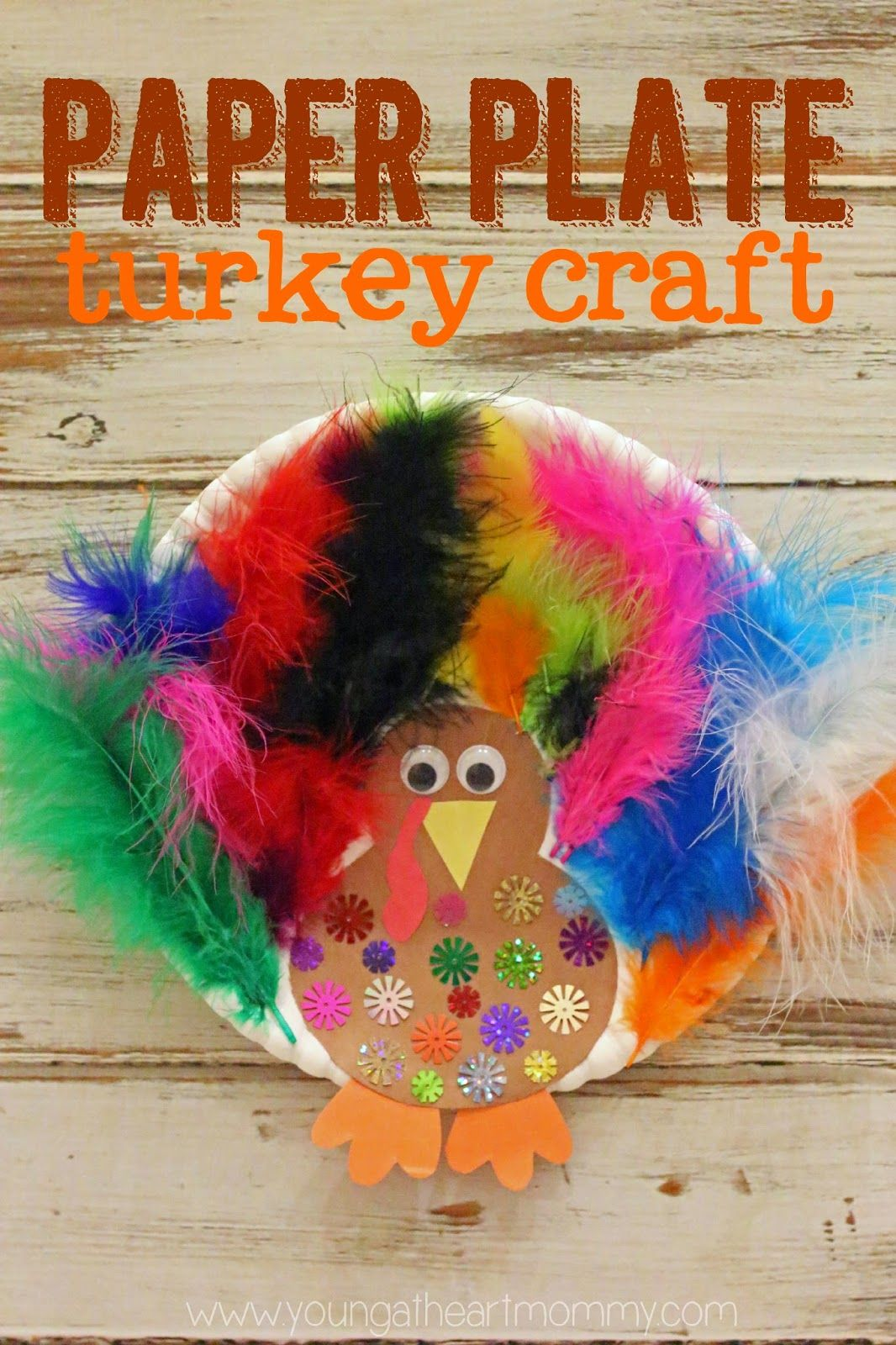 Paper Plate Feathered Turkey Craft Thanksgiving Crafts