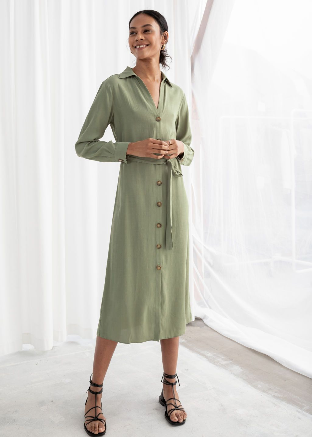 Belted Button Up Midi Dress Pistachio Midi Dresses Other Stories Midi Dress Clothes Fashion Outfits [ 1435 x 1025 Pixel ]