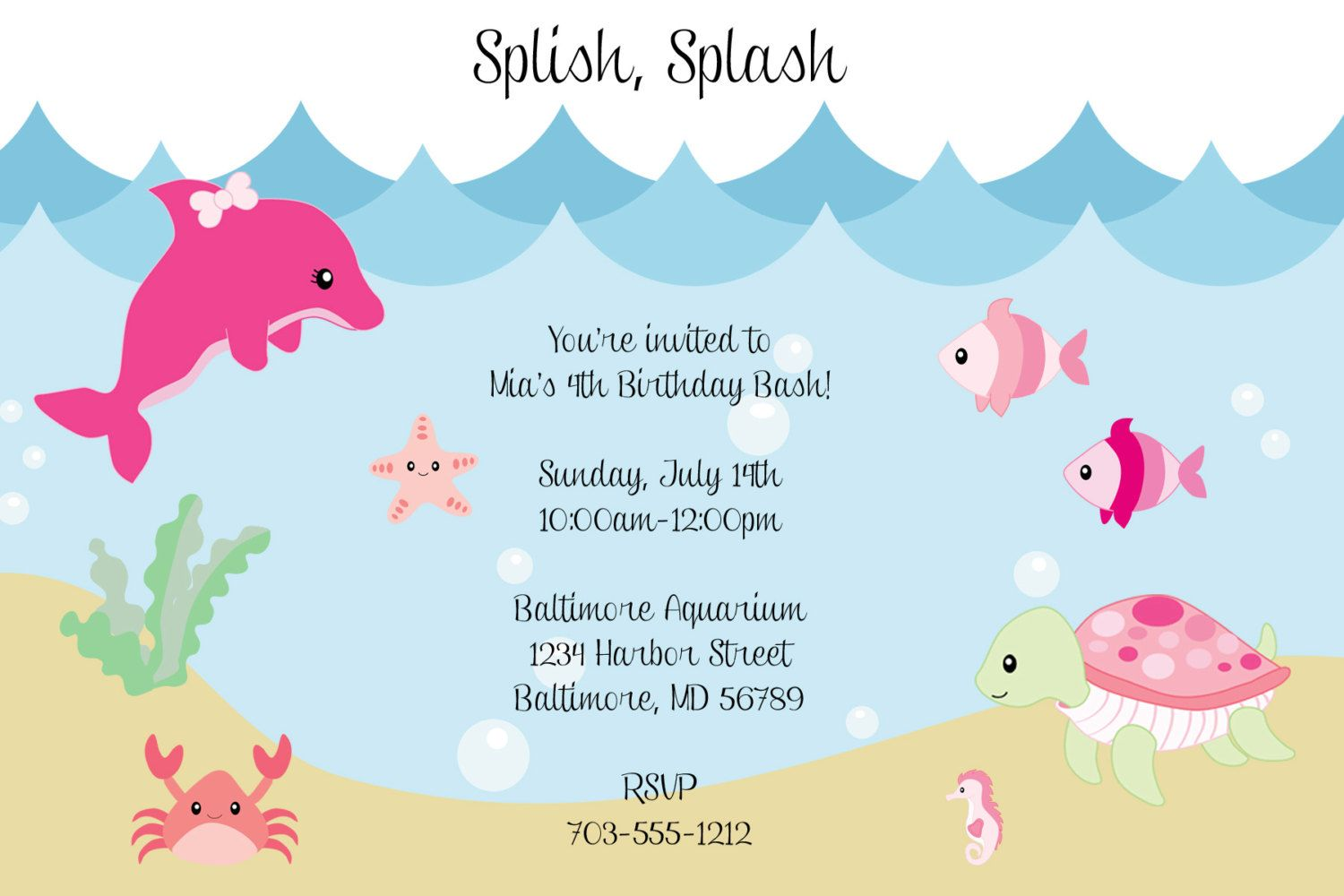 sea birthday invitations wording