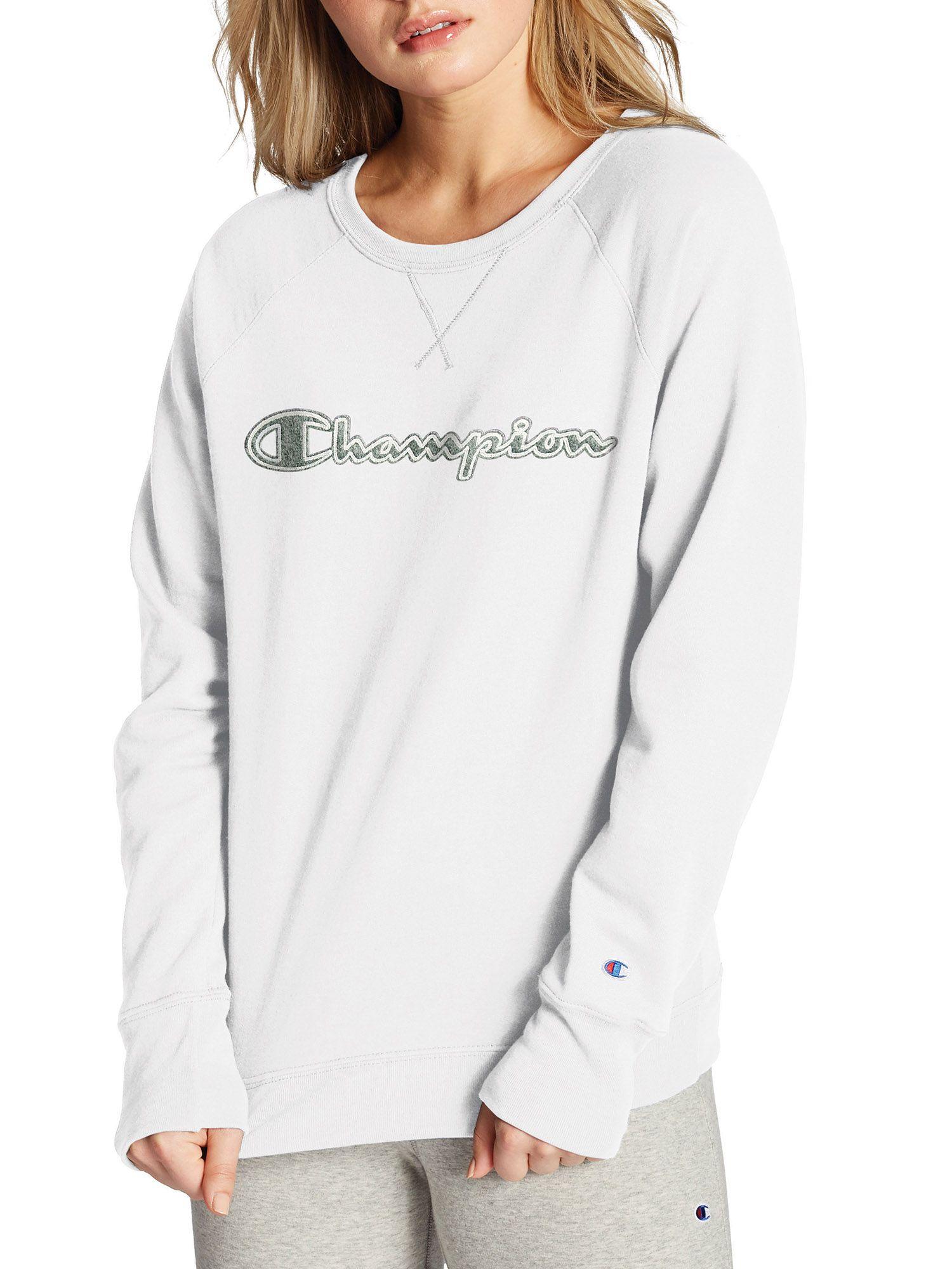 Champion Champion Women S Powerblend Fleece Boyfriend Crew Neck Sweatshirt Applique Walmart Com Crew Neck Sweatshirt Sweatshirts Long Sleeve Sweatshirts [ 2000 x 1500 Pixel ]