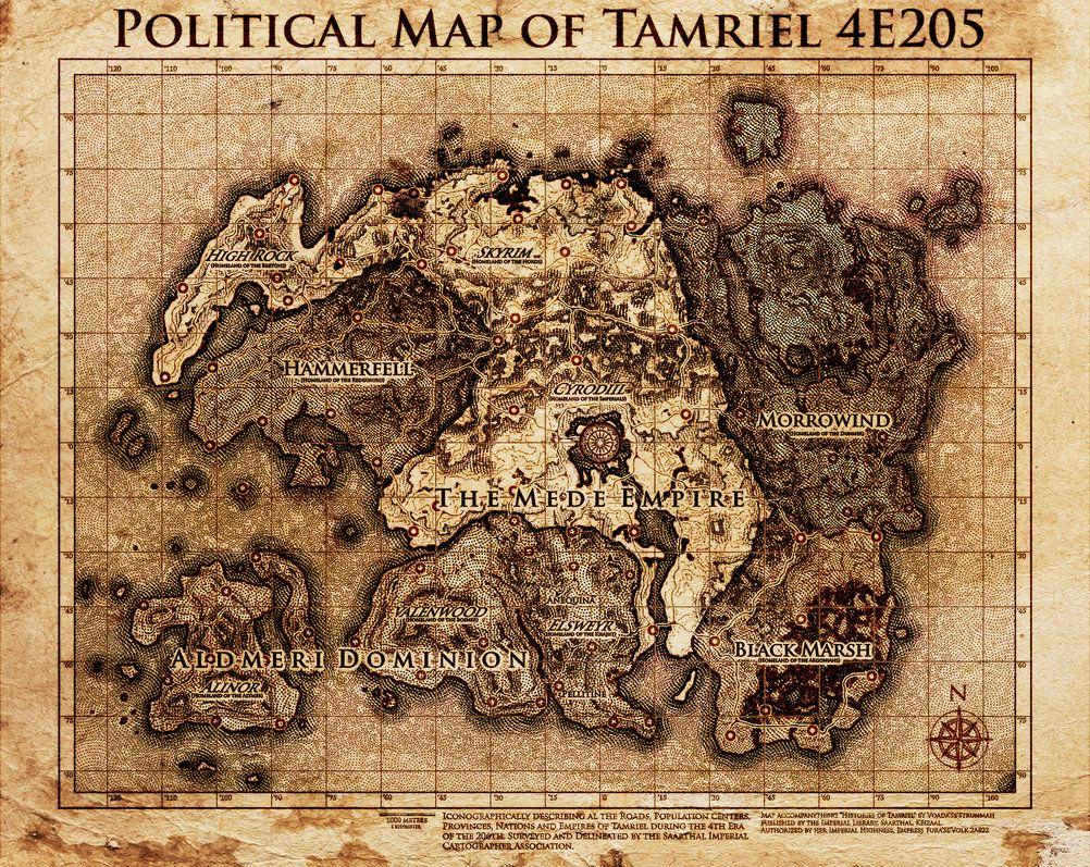 Elder Scrolls Political Map Tamriel By Dovahfahliil Fantasy World