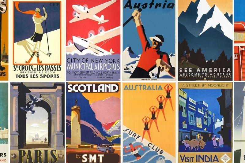 Vintage Travel Poster Wallpaper Mural