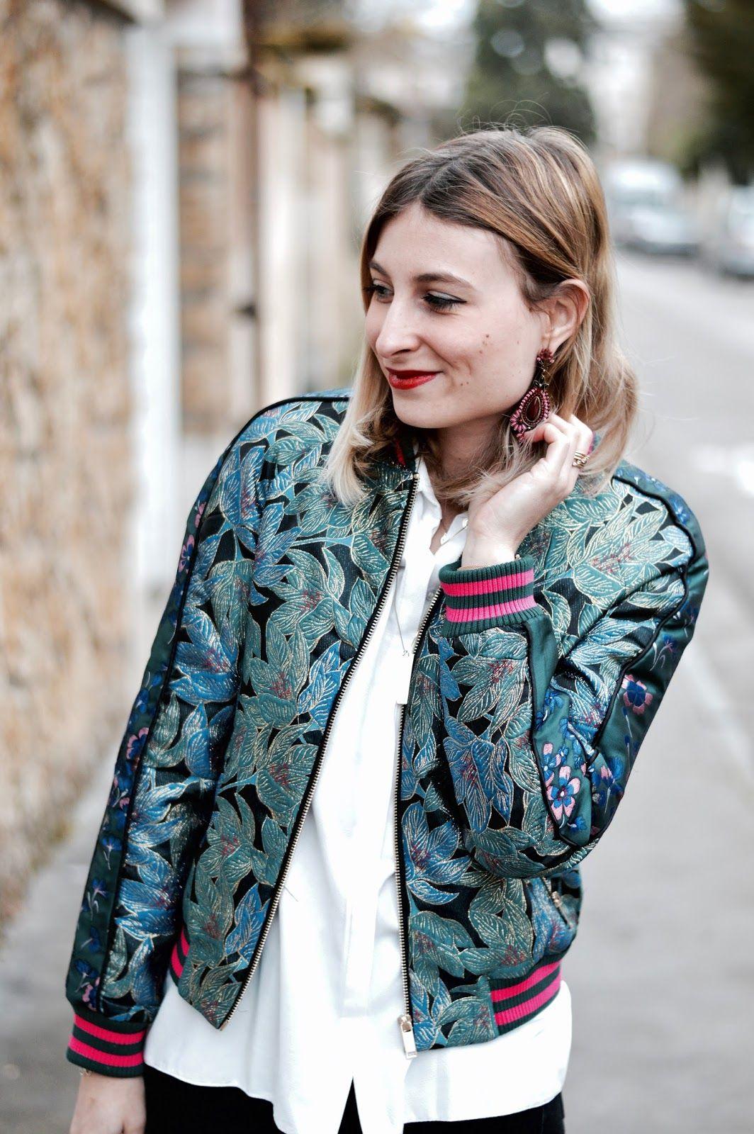 1f206931ca blog mode : look femme blouson bomber jacquard bleu Pimkie | TENUES ...