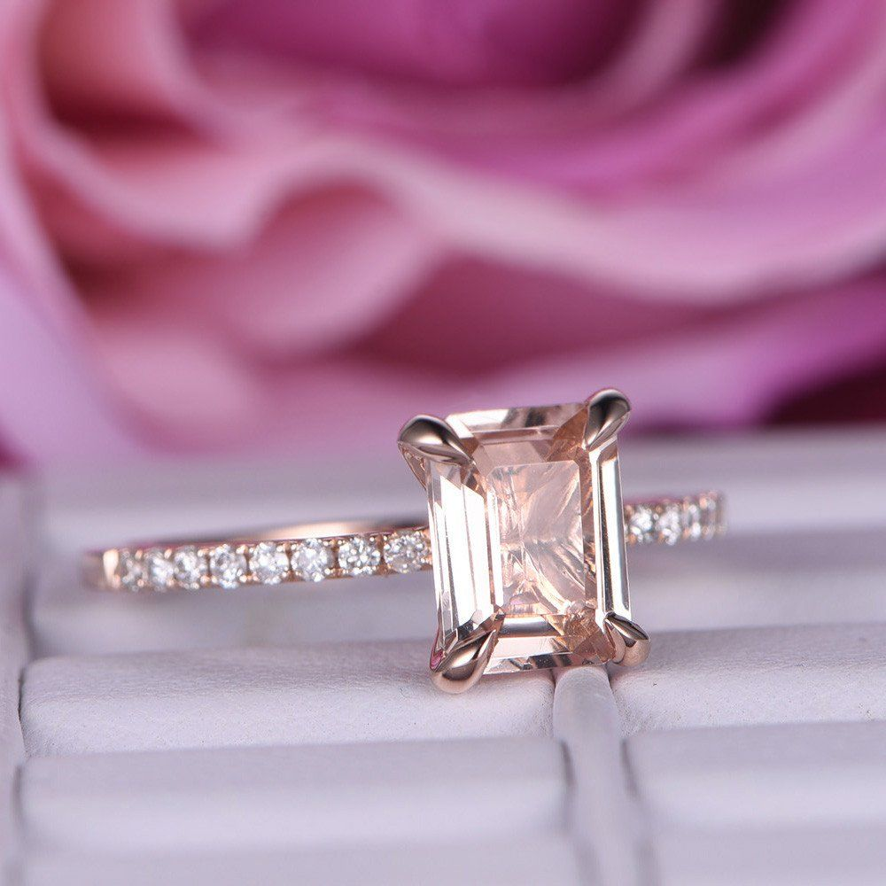 Emerald Cut Morganite Engagement Ring Pave Diamond Wedding 14K Rose ...