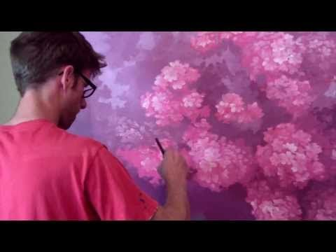 Painting A Cherry Blossom Tree Mural Joe Youtube Blossoms Art Flower Painting Tree Painting