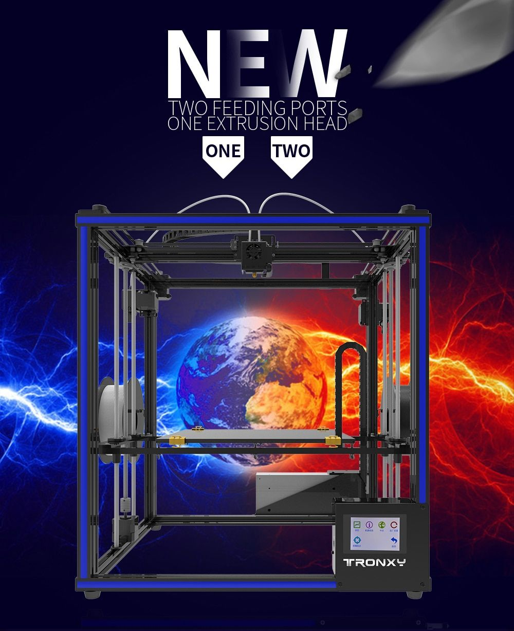 2018 Newest Tronxy DIY 3D Printer X5ST-2E Mixed color Double Feeding