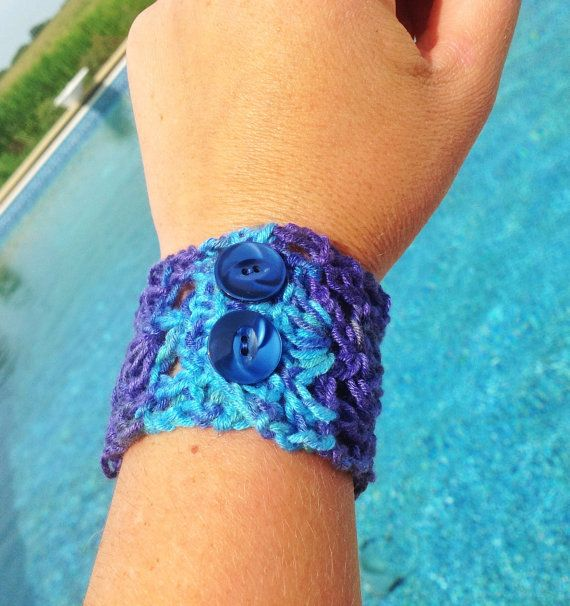 Blue purple crochet cuff bracelet with vintage by TraylorCrafts, $10.00