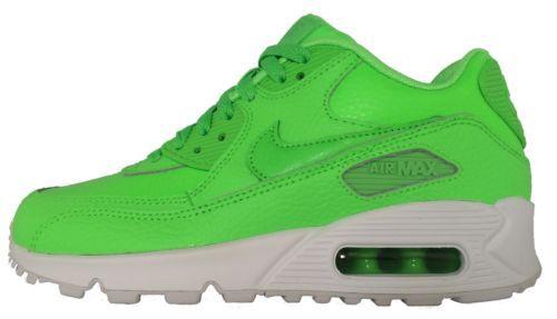 Nike Air Max 90 Leder Damen Jungen Maedchen Neon Gruen Weiss