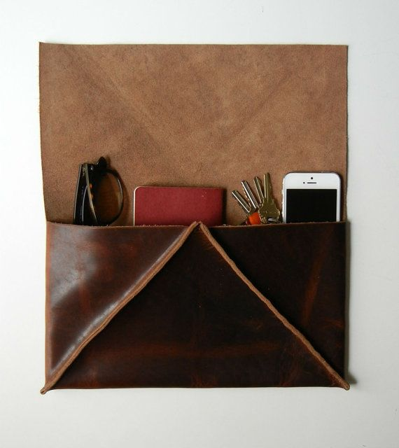 Distressed Chocolate Brown Leather Clutch  Geometric   by CrowSLC, $140.00