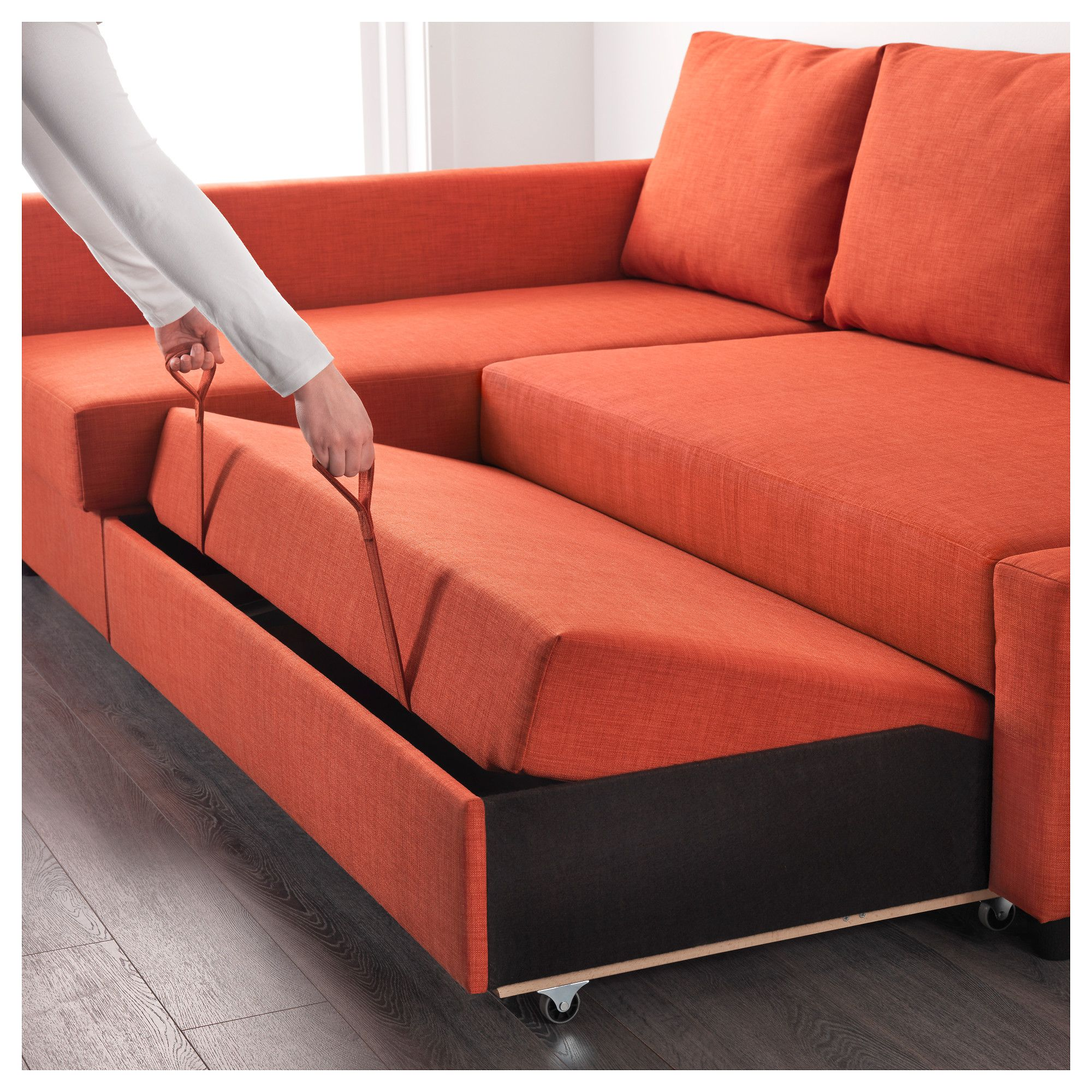 IKEA - FRIHETEN Corner sofa-bed with storage Skiftebo dark orange in ...