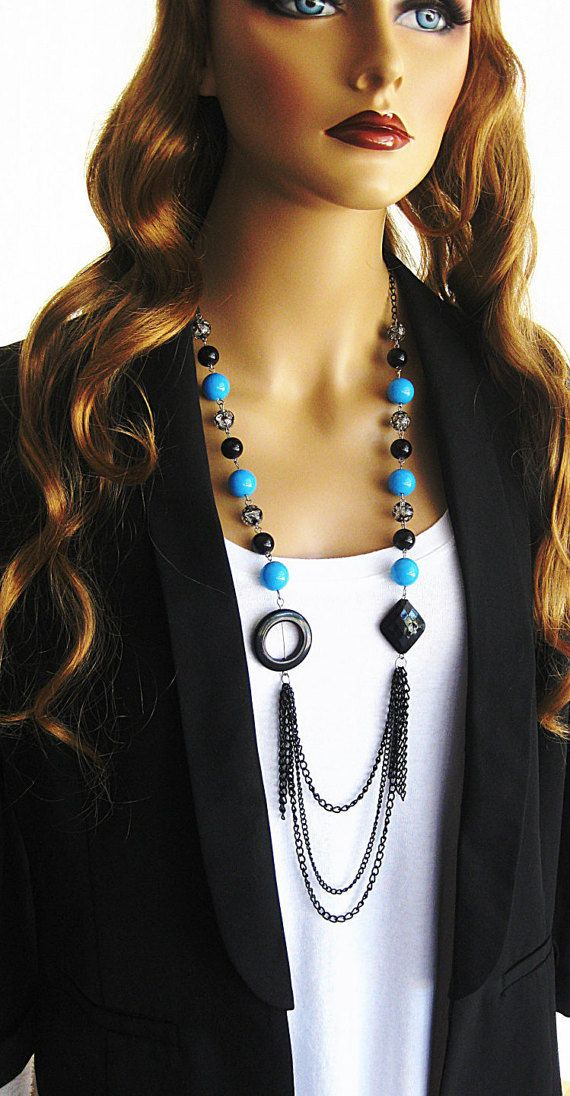 Long Black and Blue Beaded Necklace by RalstonOriginals on Etsy