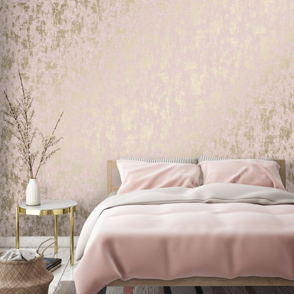 I Love Wallpaper Milan Metallic Wallpaper Blush Pink Gold