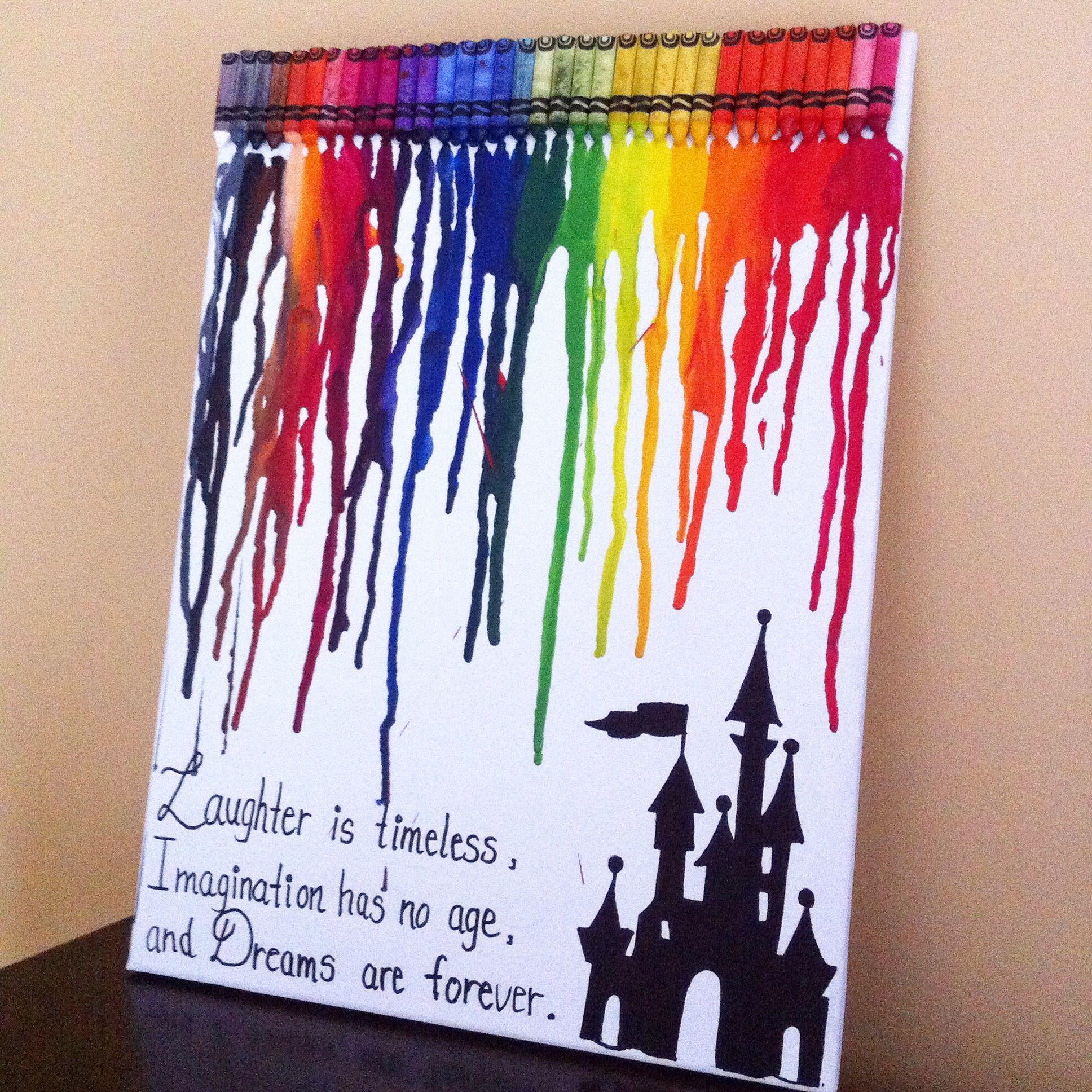 Disney inspired melted crayon art art pinterest for Crayon diy canvas