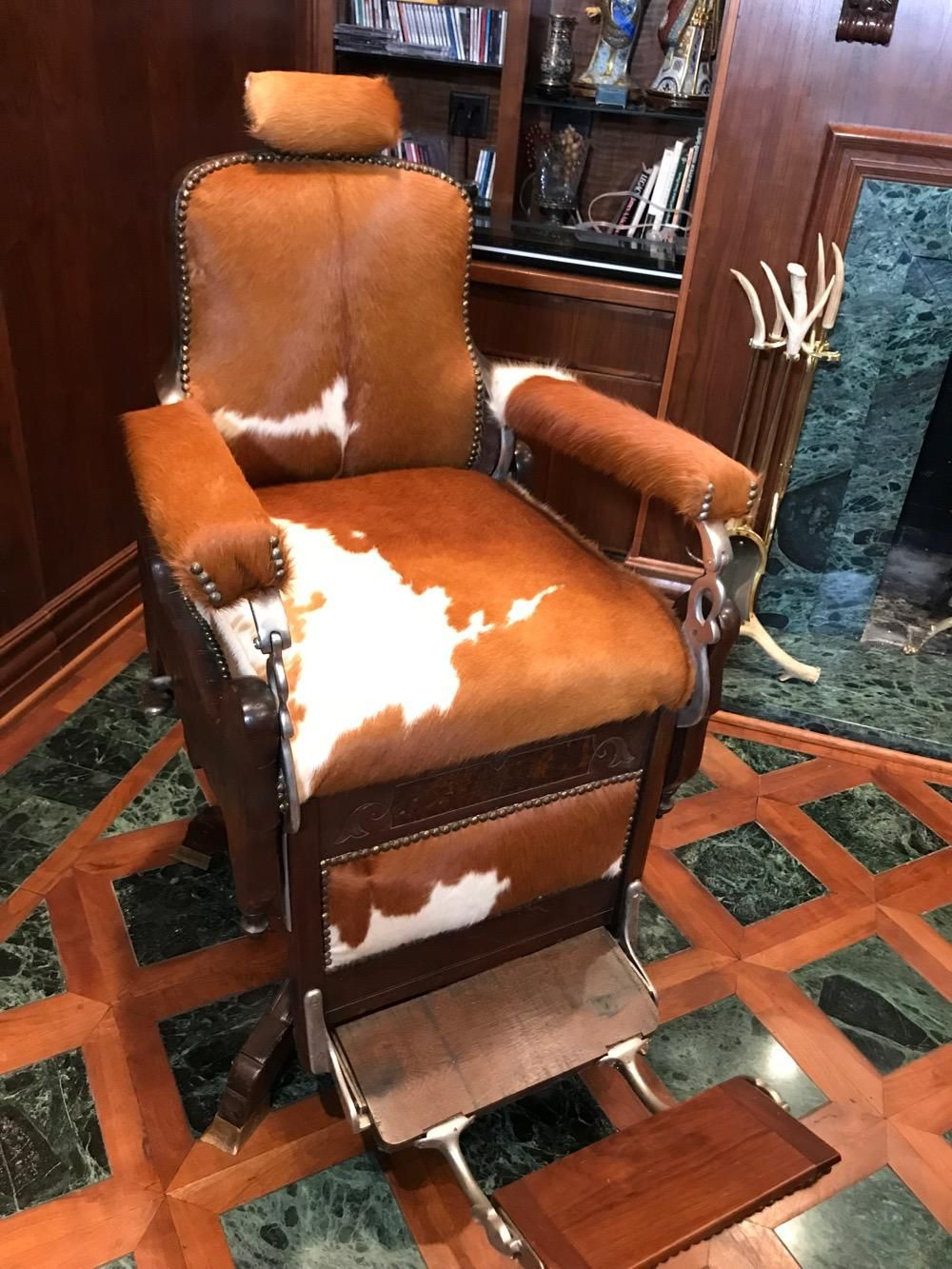 Arts Et Rangements Christine Roy American Walnut And Cowhide Barber Chair C 1900 Furniture