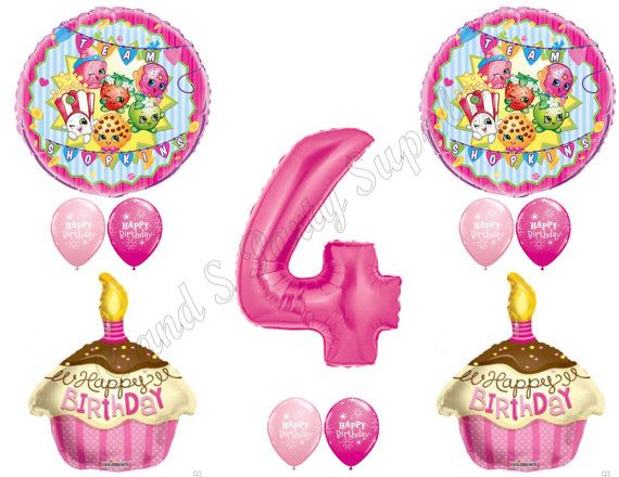 Shopkins th th th th birthday girl balloons decoration supplies party cupcake cookie blossom oose age also rh za pinterest